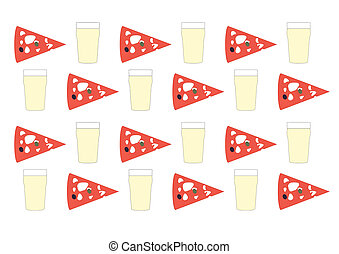 Beer and pizza vintage - Background with beer pint and pizza...