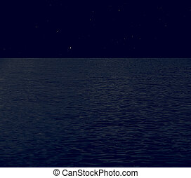 Full moon at sea vintage - Sea at night with starry sky...