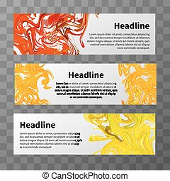 Web banners with red, yellow and orange splashes of paint