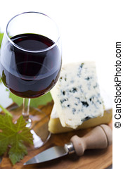 Wine and cheese - Still life with red wine and cheese