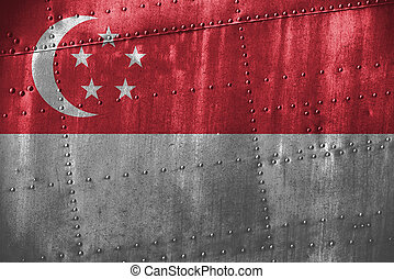 metal texutre or background with Singapore flag