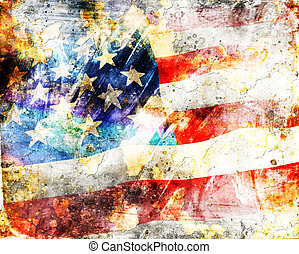 US Flag on grunge background