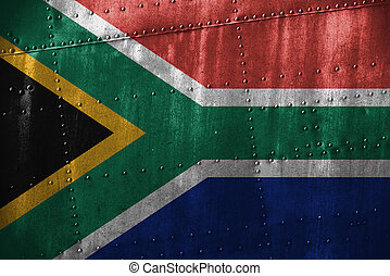 metal texutre or background with South Africa flag
