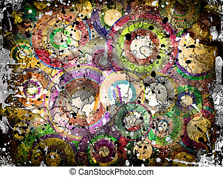 grunge background with scratches - grunge circles abstract...