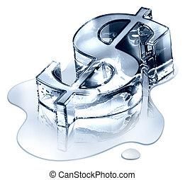Crisis finance - the dollar symbol in melting ice -...