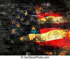 US Flag on grunge background