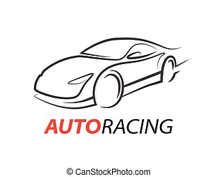 Concept auto racing car logo with supercar sports vehicle...