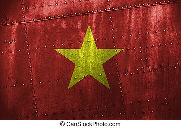 metal texutre or background with Vietnam flag