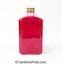 Shampoo, liquid soap in a bottle of red color
