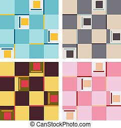 Set of Abstract Patterns - Set of verious colored quadrant...