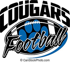 cougars football team design with football and paw print for...