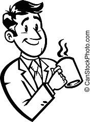 Cartoon Business Man Coffee