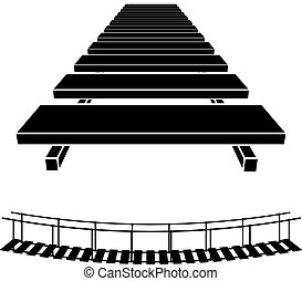 3D simple wooden bridge black symbol - illustration for the...