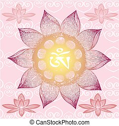 Om Design,lotus flower,