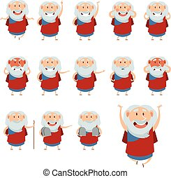Set of Moses icons3 - Vector image of the set of Moses icons