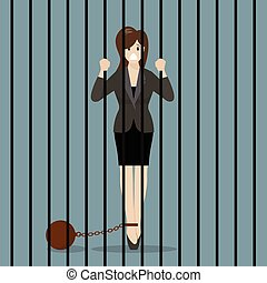 Business woman with weight in prison Business concept