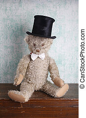 Vintage Teddy bear with top hat and bow tie