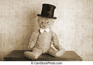 Vintage Teddy bear - Vintage teddy bear with top hat and bow...