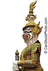 Thai Golden Demon Warrior Buddha with Isolated ,Thailand