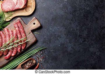 Sausages and meat cooking - Sausages, meat and ingredients...