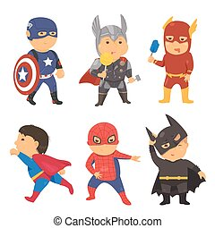 Cartoon superhero costume kids Vector illustration for comic...