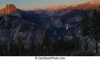 National Park Yosemite Half Dome lit by Sunset Light Glacier Point