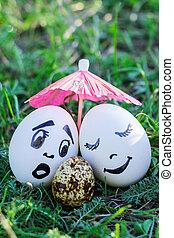 divertido, huevos, imitar, blanco, y, mezclado, parejas,...