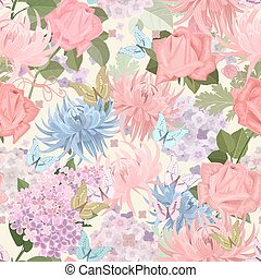 seamless texture with delicate flowers and butterflies. floral m