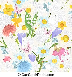 seamless texture with floral mix design