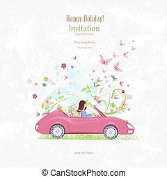 Invitation card with pretty girl in pink convertible on grange b