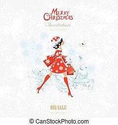 Invitation card with pretty girl is walking with shopping bags f