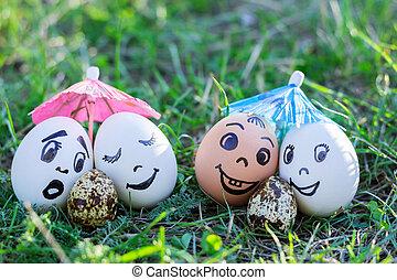 divertido, huevos, imitar, parejas, con, versicolored, bebes