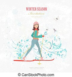 sport Invitation card with a happy girl on cross country skiing