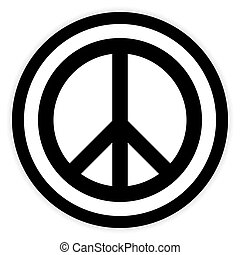 Peace symbol buttom. - Peace symbol button on white...