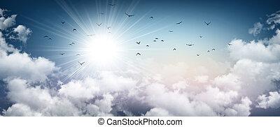 Stormy sky sensation - Stormy sky background, sunlight...
