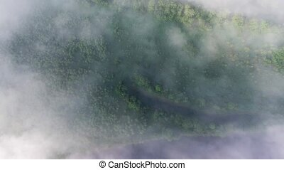 flying above landscape with mist - flying above beautiful...