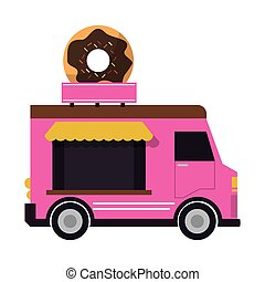 food truck delivery design - donut truck delivery fast food...