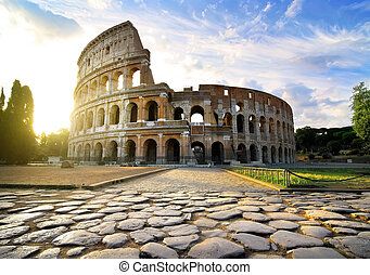 Colosseum in Rome - Road to Colosseum in calm sunny morning