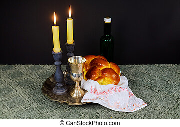 Shabbat Shalom Hebrew with kiddush candles - Saturday...