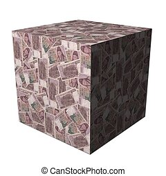 Korean Won cube - abstract cube covered in South Korean Won...