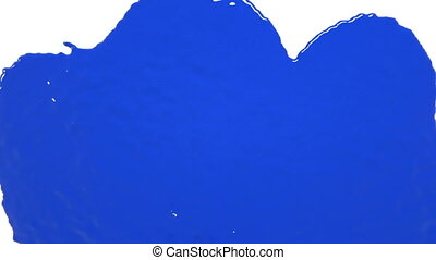 blue drops falling on white screen. Colored paint