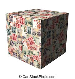 Chinese Yuan cube - abstract cube covered in Chinese Yuan...
