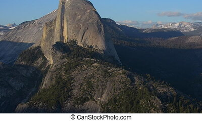 National Park Yosemite Half Dome lit by Sunset Light Glacier...