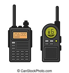 Radio Set Transceiver with Antenna Receiver. Vector...