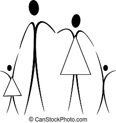 family - father, mother, son and daughter - the family for a...