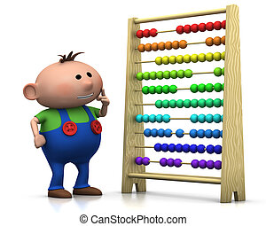 boy with abacus - 3d renderingillustration of a cute cartoon...