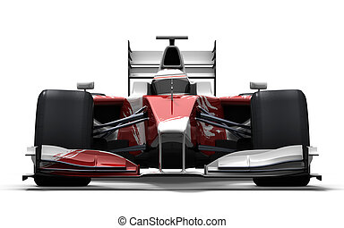 race car - red and white - 3d illustration/rendering of a...