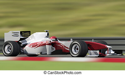 race car on track - side view - formula one race car on...