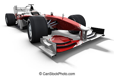 race car - red and white - 3d illustrationrendering of a red...