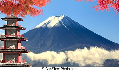 3d rendering Mt. Fuji with fall colors in Japan - The 3d...